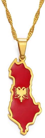Albania Map And Eagle Flag Pendant Necklaces For Women Men Gold Color/Silver Color Albanian Jewelry 60Cm Fine Chain | Amazon.com