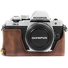 MegaGear MG970 Olympus OM-D E-M10 Mark II, E-M10 (14-42mm) Ever Ready Leather Camera Half Case and Strap - Dark Brown