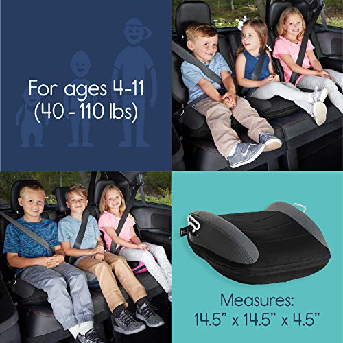 51Wvwo357pL - Hiccapop UberBoost Inflatable Booster Car Seat | Blow Up Narrow Backless Booster Car Seat For Travel | Portable Booster Seat For Toddlers, Kids, Child | Black/Gray
