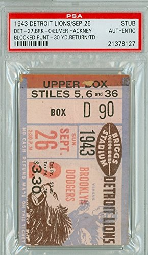 1943-Detroit-Lions-Ticket-Stub-vs-Brooklyn-Dodgers-Lions-27-0-September-26-1943-Grades-Good-very-minor-paper-loss-on-edges