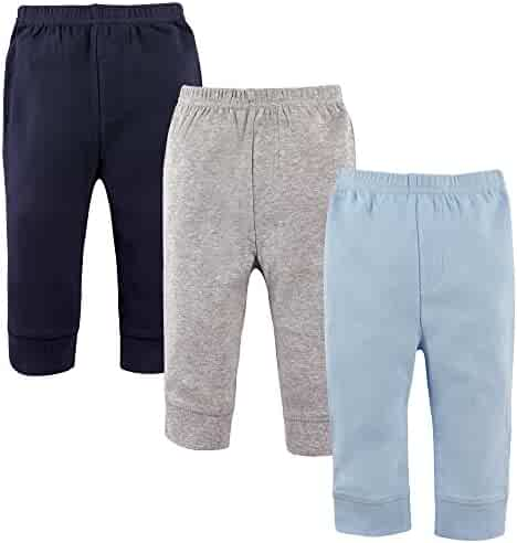 'Luvable Friends Baby Boys 3 Pack Tapered Ankle Pants, Light Blue,Navy,Grey, 12-18 Months'