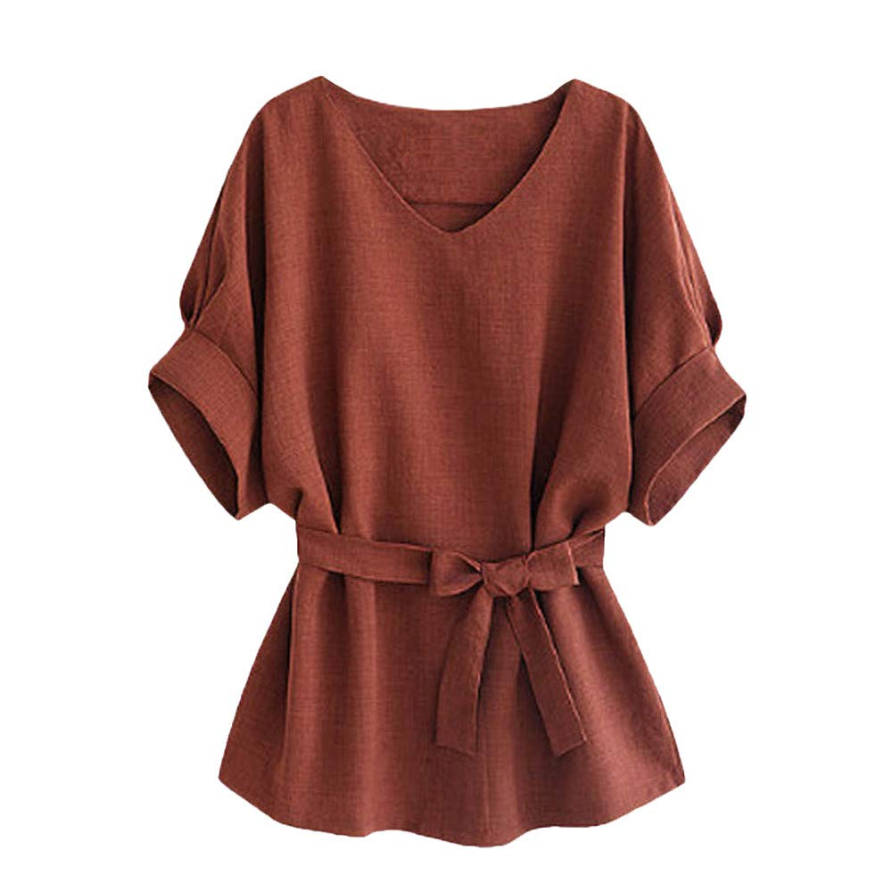 TIFENNY Summer Loose Tee Shirt Women's Fashion V Neckline Self Tie Short Sleeve Blouse Tops T-Shirt with Belt Brown