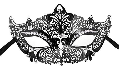 Scuba Guy Costume (TAUT Metal Laser Cut Mask Opera Prom Party Masquerade Mask,Black Clear Diamond)
