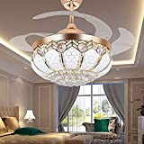 TiptonLight Gold Ceiling Fan Chandelier 42 Inch Ceiling Fan Light with 4 Acrylic Retractable Blades Modern Style for Home with White/Warm/Neutral Light