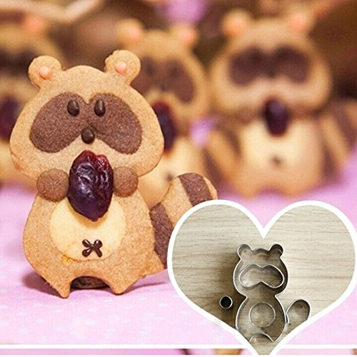 BakeRock Adorable Raccoon Dog Cookie Plunger Cutter Sugarcraft Biscuit Baking Cake Fondant Decorating Mold Homemade DIY Tools (Grease Female Characters)