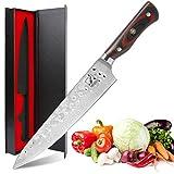 Damascus Chef Knife, Imarku 8-inch Professional Kitchen Knife, AUS10V Hardened Japanese Carbon Stainless Steel, Razor Sharp Blade with G10 Balanced Ergonomic Handle