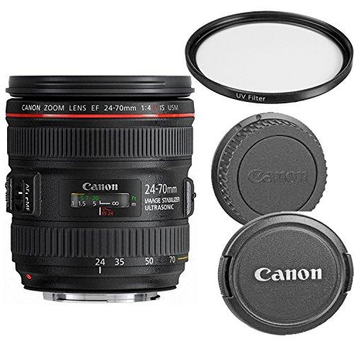 Canon EF 24-70mm f/4.0L IS USM Standard Zoom Lens for Canon SLR Cameras W/UV(Ultra Violet) FIlter (Certified Refurbished)