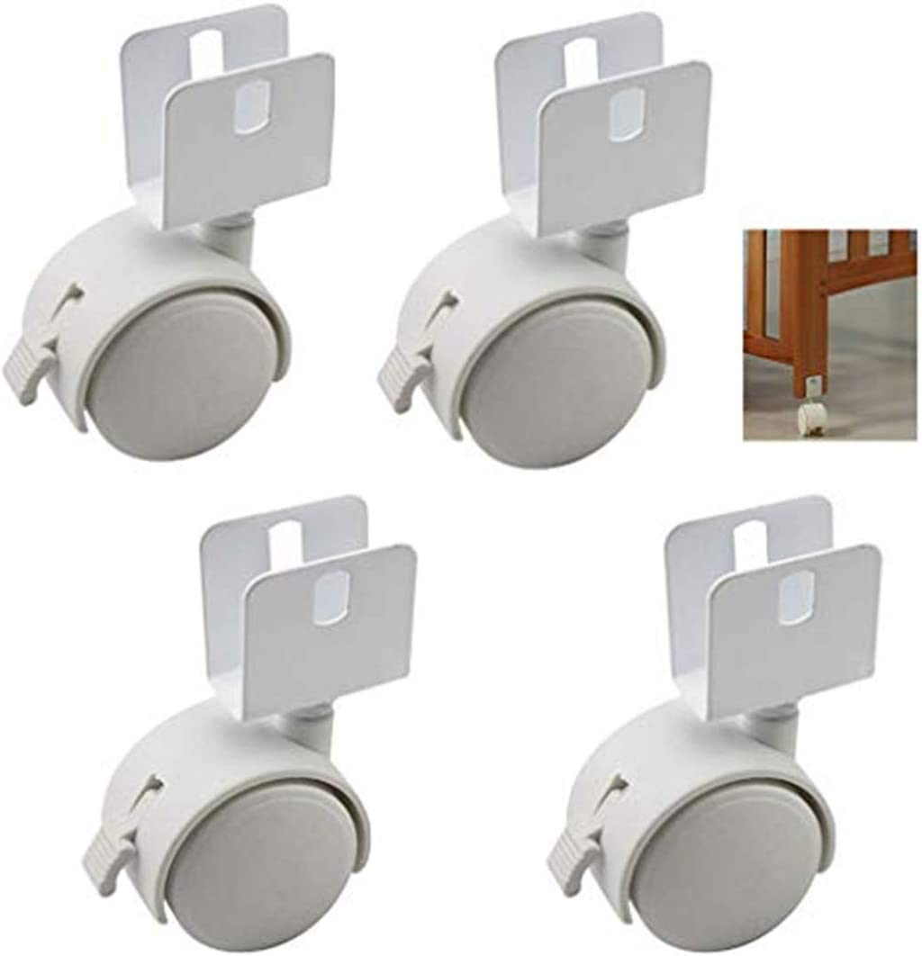 FCXBQ 4pcs Child Crib Caster Swivel Castors 1.5 Inch U-Bracket Furniture Wheel with Brake,for Boards 16mm,Baby Crib Wheel Accessories,Load 160kg,with Screws,White