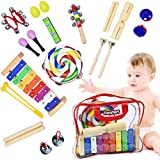 Toddler Musical Instruments - Percussion Instruments for Kids | 13 Types 25pcs Wooden Rhythm & Music Toys Set with Lollipop Tambourine Xylophone Early Learning Preschool Educational Toys Storage Bag