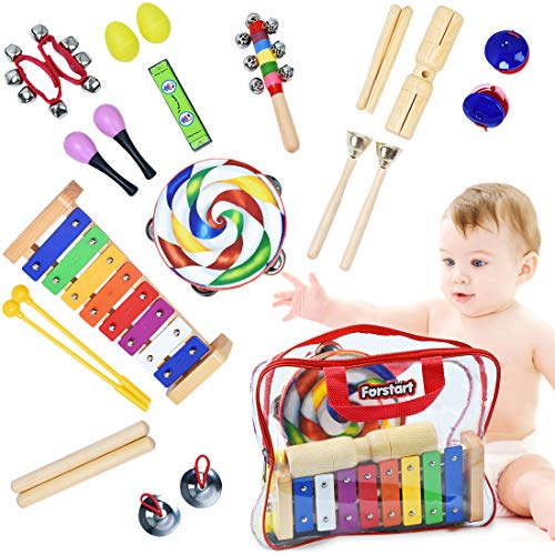 Toddler Musical Instruments - Percussion Instruments for Kids | 13 Types 25pcs Wooden Rhythm & Music Toys Set with Lollipop Tambourine Xylophone Early Learning Preschool Educational Toys Storage ()