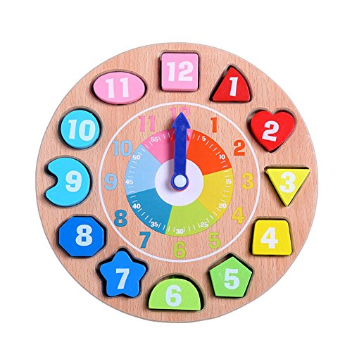 DOUYYE Wooden Educational Toys Shapes Sorting Teaching Clock Lacing Beads Games for Kids Children Baby Toddler Boy Girl