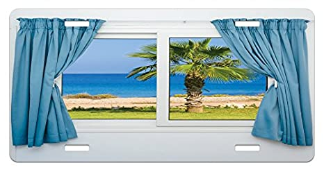 Amazoncom Ambesonne Palm Tree License Plate Blue Curtains White