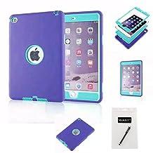 iPad Mini 4 Case,MAKEIT 3in 1 Heavy Duty Defender Full-body Protection Combo Hybrid Impact Silicone Hard Case Cover for Apple Ipad Mini 4 (Purple/Light green)