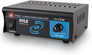 Compact Mini Stereo Power Amplifier - 2x15 Watt Portable Dual Channel Home Audio Speaker Receiver Box W/ RCA Cable L/R Input for Cd Player, Tuner, MP3, for Amplified Speakers Sound System - Pyle PCA1