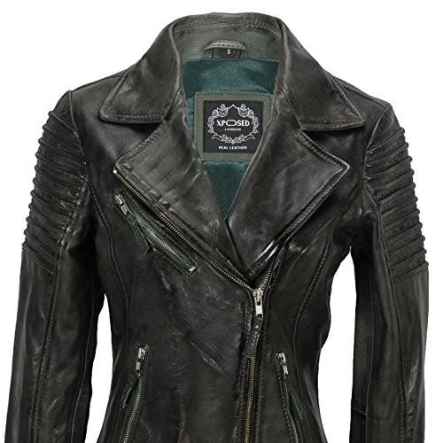 Jacket Slim Size Real Ladies Dusty Leather 6 Soft C Fitted Vintage Green Xposed UK Biker Womens 24 wCzqSST