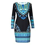 FAPIZI ♥ Women Dress ♥ Women Traditional African Print Dashiki Bodycon Sexy Long Sleeve Dress (M)