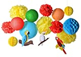 PAPER JAZZ 16pcs Parrot tropical birds Honeycomb Paper Pom Poms Lanterns for fiesta Wedding Birthday Summer Beach Seaside Hawaiian luau tiki Party Decorations Yellow Blue Green Color (parrot kit red)