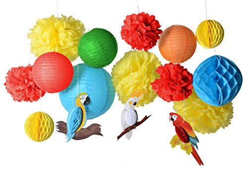 PAPER JAZZ 16pcs Parrot Tropical Birds Honeycomb Paper Pom Poms Lanterns for Fiesta Wedding Birthday Summer Beach Seaside Hawaiian Luau Tiki Party Decorations Yellow Blue Green Color (Parrot kit ()