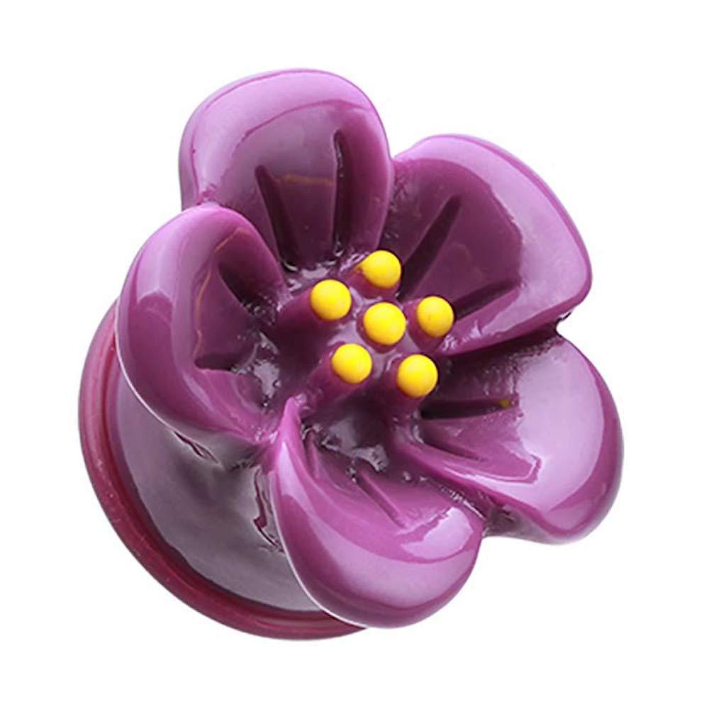 Covet Jewelry Adorable Hibiscus Flower Single Flared Ear Gauge Plug