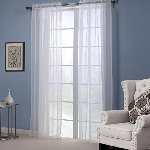 Amazonde KEYNIS Vorhang Transparent Gardinen Wohnzimmer Voile Weiss 2er Set 140x245cm