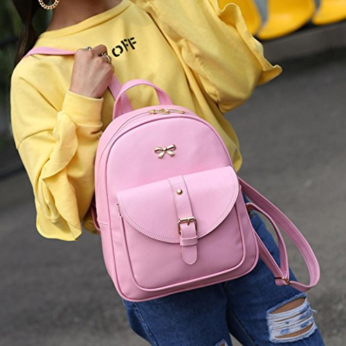 Color Pink Women Girls shoulder Card mini Pure Grey bag cross wallet backpack School Vovotrade 4PC Bags holder SgfwqXC