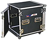 """12U Amp Rack ATA Travel Case For DJs & Musicians - Chrome Steel Hardware With Heavy Duty Wheel Casters - 20"""" In Depth - By GMI Pro"""