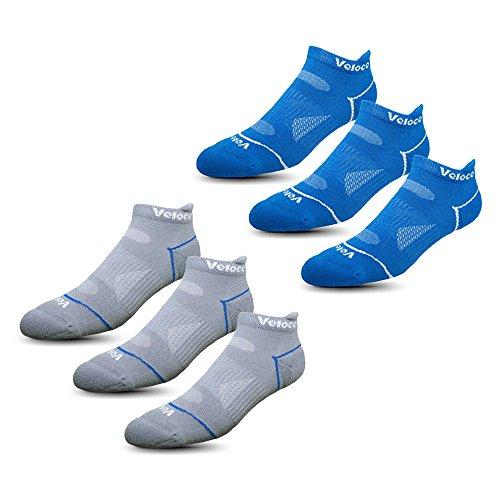 Veloce Athletics Ankle Socks for Men & Women: Cool-Silver Anti-Odor Training & Running Comfort Sock - Blue/Gray from Veloce Athletics