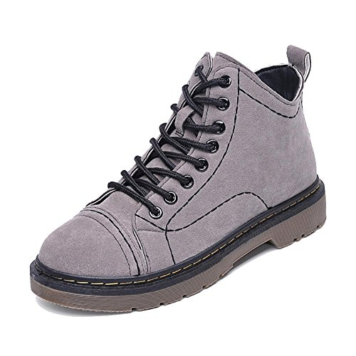 Schnürsenkel GRAU Martin Kurze Schuhe Warme 40 Casual Wildleder Ferse Frauen Stiefeletten Flache 8OwqZvvx