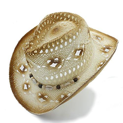 GR Fashion Women's Men's Dad Sombrero Beach Shell Sun hat Hollow Straw Western Cowboy Hat Summer Cowgirl Jazz Cap ( Color : 1 , Size : 57cm-58cm ) (Straw Raffia Western)
