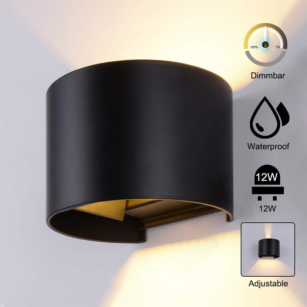 Wandleuchte Aussen Dimmbar Wandlampe Wasserdicht mit einstellbar Abstrahlwinkel 12W Schwarz Dimmbar Warmwei/ß 12W 3000K LED Aluminium Wandbeleuchtung Au/ßenlicht//Innen