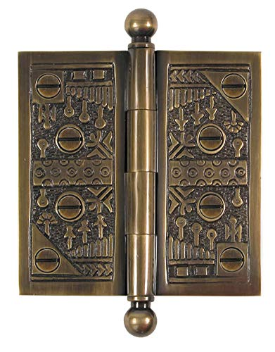 - Brass Elegans WC006AB Solid Brass Windsor Design 4-Inch Decorative Door Hinge with Brass Screws, Antique Brass Finish