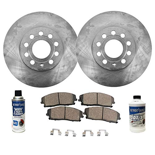 (Detroit Axle - Pair (2) 321mm Front Disc Brake Rotors w/Ceramic Pads w/Hardware & Brake Cleaner & Fluid for 2005 2006 2007 2008 Audi A4 - [2005-2009 A4 Quattro])