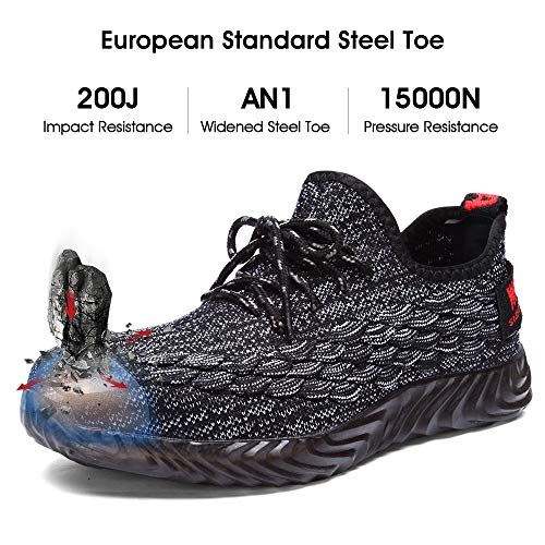 afe854adaf5a3 DYKHMILY Steel Toe Shoes Men and Women Safety Shoes for Men Slip Resistant  Work Shoes, Casual Breathable Outdoor Composite Sneakers Black/Grey