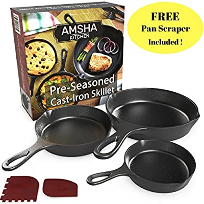 Pre-Seasoned Cast Iron Skillet 3 Piece Set (10, 8 inch & 6 inch Pans) Best Heavy Duty Professional Restaurant Chef Quality Pre Seasoned Pan Cookware For Frying, Saute, Cooking - FREE Pan Scraper