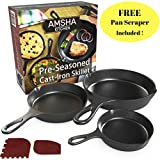 #9: Pre-Seasoned Cast Iron Skillet 3 Piece Set (10, 8 inch & 6 inch Pans) Best Heavy Duty Professional Restaurant Chef Quality Pre Seasoned Pan Cookware For Frying, Saute, Cooking - FREE Pan Scraper