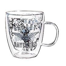 Harley Davidson Bar and Shield Wings Double Wall Glass Coffee Mug, 12 ounces