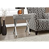 Monarch Specialties I 3263 Dark Taupe/Chrome Metal Night Stand Accent Table