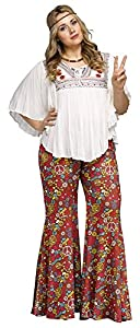Hippie Pants, Jeans, Bell Bottoms, Palazzo, Yoga Flower Child Bell Bottoms Costume - Plus Size 1X - Dress Size 16-20 $24.48 AT vintagedancer.com