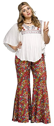 Adult 60s Peace Flower Power Bell Bottom Pants, Plus Size (Peace Costumes)