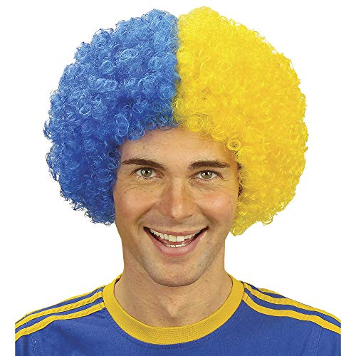 Two Tone Curly - Blue/yellow Wig For Hair Accessory Fancy Dress ()