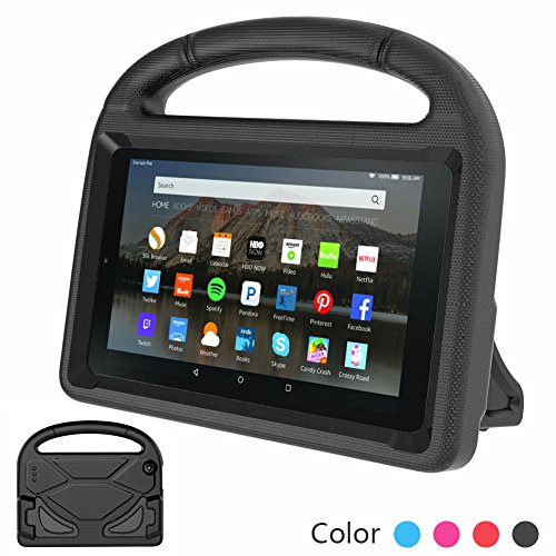 Euow Fire 7 2017/2015 Kids Case,Handle Stand EVA Protective Cover-Shock Proof Convertible 7 inch Display Light Weight Child Case for Amazon kindle Fire 7 iPad Tablet New (Black)