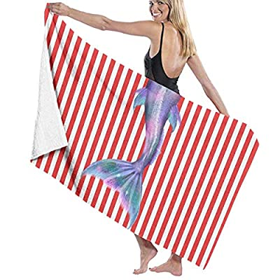 BAGT Luxury Oversized Beach Towels, Mermaid Tail Striped Bath Towel Wrap Womens Spa Shower and Wrap Towels Swimming Bathrobe Cover Up for Ladies Girls - White