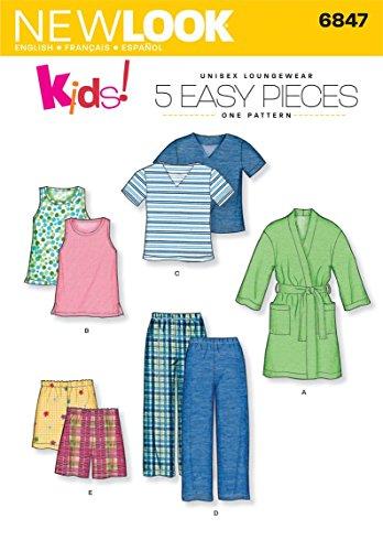 - New Look Sewing Pattern 6847 Child Sleepwear, Size A (3-4-5-6-7-8)