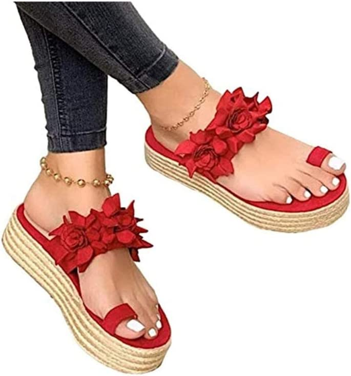 Women Flower Casual Sandals Clip Toe Comfy Breathable Flip Flop Non-Slip Beach Espadrilles Wedges Orthopedic Shoes Slippers,Red,35