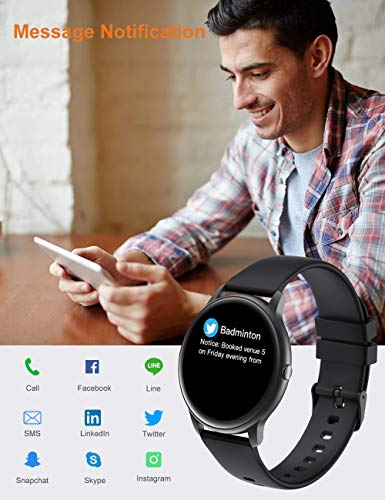 YAMAY Smart Watch 2020 Ver. IP68 Waterproof Customized Watch Faces, Watches for Men Women Fitness Tracker Heart Rate Monitor Watch, Smartwatch Compatible with iPhone Samsung Android Phones (Black)