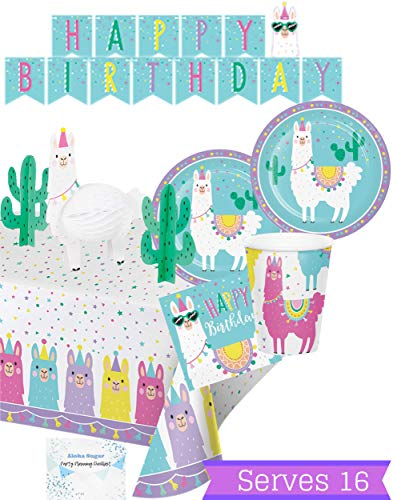 Llama Party Supplies and Decorations - Llama Plates Cups Napkins for 16 People - Includes Banner, Tablecloth and Centerpiece - Perfect Llama Birthday Party Decorations!