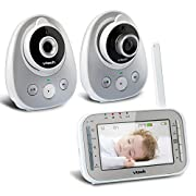 VTech VM342-2 Video Baby Monitor with 170-Degree Wide-Angle Lens for Panoramic View, Night Vision, Talk-back Intercom & 1,000 feet of Range with 2 Cameras