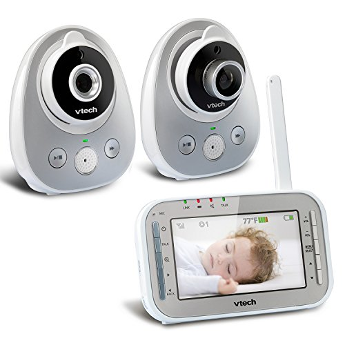 VTech VM342-2 Video Baby Monitor with 170-Degree Wide-Angle Lens for Panoramic View, Night Vision, Talk-back Intercom & 1,000 feet of Range with 2 Cameras by VTech