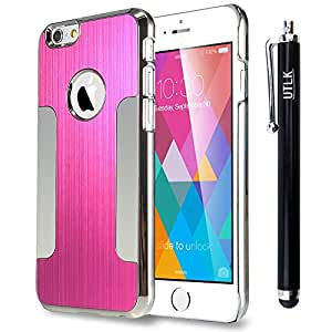"""iPhone 6 Plus Case, UTLK Luxury Metal Brushed Slim Armor Aluminum Chrome Hard Cover Case for Apple iPhone 6 Plus 5.5-Inch (iPhone6 Plus 5.5"""""""" Rose + Silver)"""