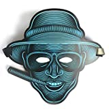 Face mask Shield Veil Guard Screen Domino False Front LED Voice-Activated Glow mask Halloween EL Fluorescent Party mask Makeup Dance 2